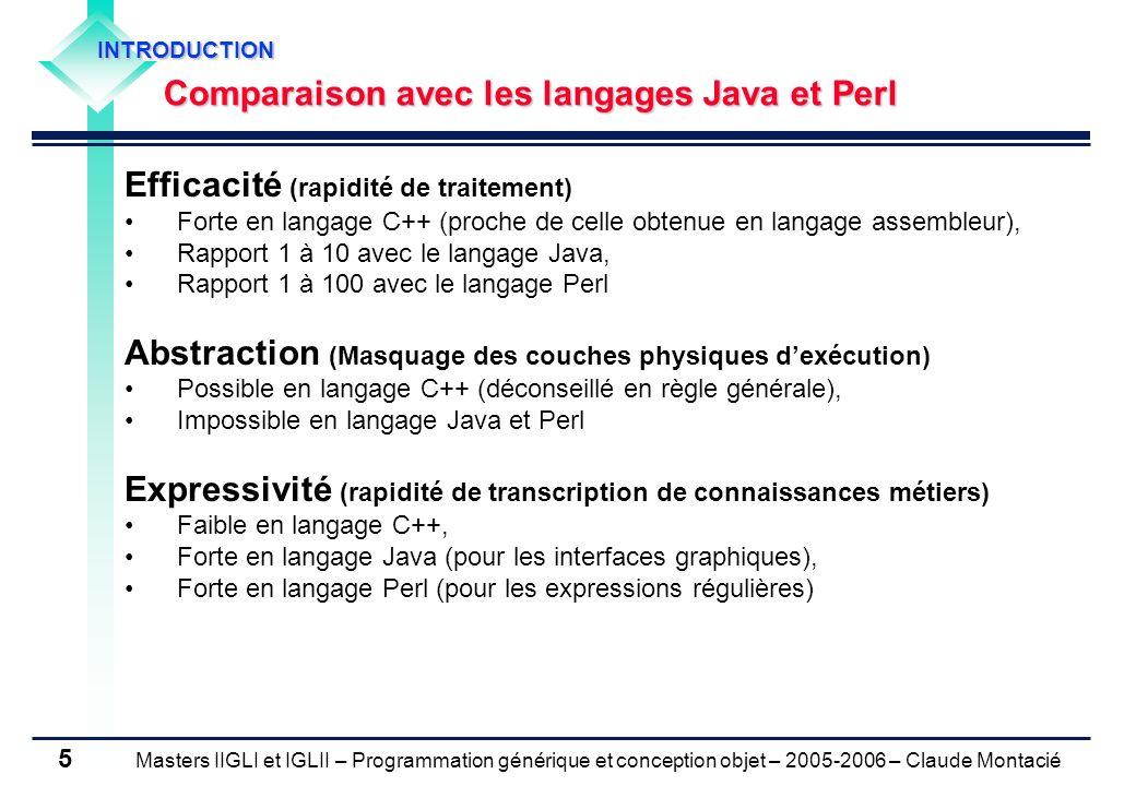 Masters IIGLI et IGLII – Programmation générique et conception objet – 2005-2006 – Claude Montacié 16 4.
