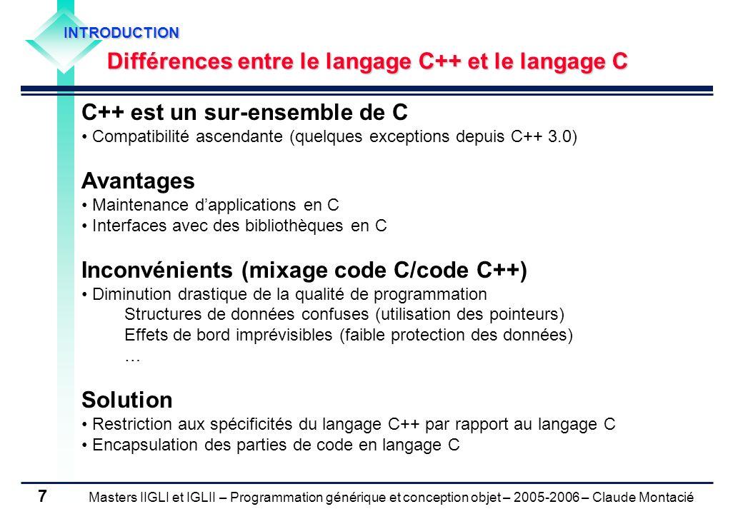 Masters IIGLI et IGLII – Programmation générique et conception objet – 2005-2006 – Claude Montacié 8 1.