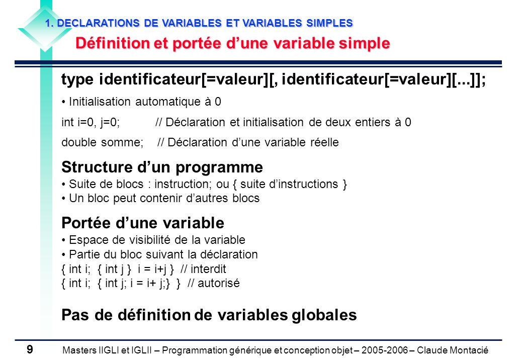 Masters IIGLI et IGLII – Programmation générique et conception objet – 2005-2006 – Claude Montacié 10 1.