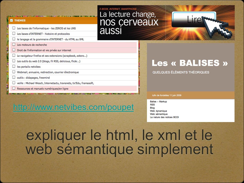 expliquer le html, le xml et le web sémantique simplement http://www.netvibes.com/poupet