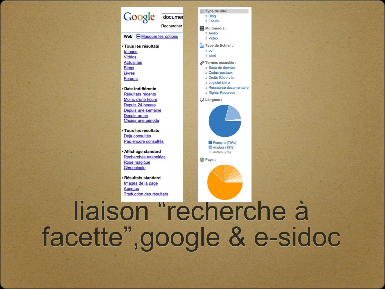 liaison recherche à facette,google & e-sidoc