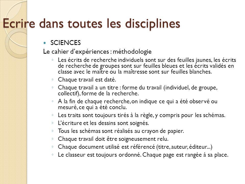 Ecrire dans toutes les disciplines SCIENCES Le cahier dexpériences : méthodologie Les écrits de recherche individuels sont sur des feuilles jaunes, le
