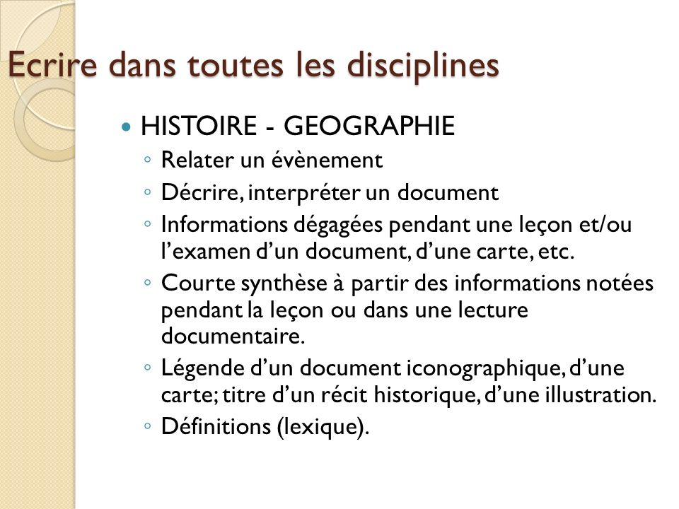 Ecrire dans toutes les disciplines HISTOIRE - GEOGRAPHIE Relater un évènement Décrire, interpréter un document Informations dégagées pendant une leçon
