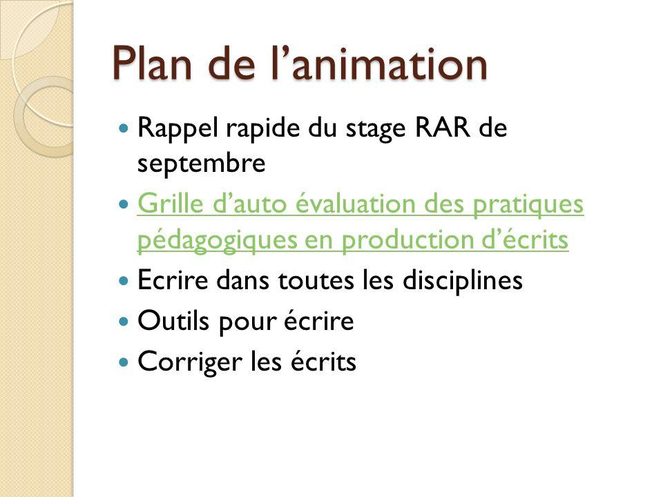Plan de lanimation Rappel rapide du stage RAR de septembre Grille dauto évaluation des pratiques pédagogiques en production décrits Grille dauto évalu