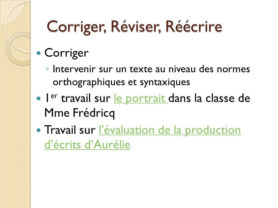 Corriger, Réviser, Réécrire Corriger Intervenir sur un texte au niveau des normes orthographiques et syntaxiques 1 er travail sur le portrait dans la