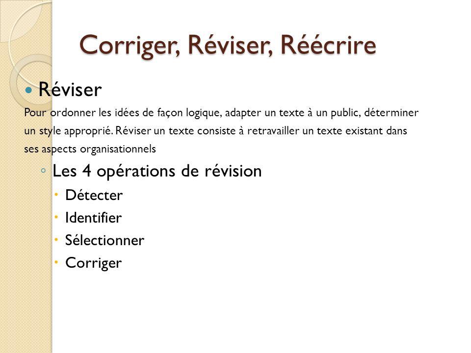Corriger, Réviser, Réécrire Réviser Pour ordonner les idées de façon logique, adapter un texte à un public, déterminer un style approprié. Réviser un