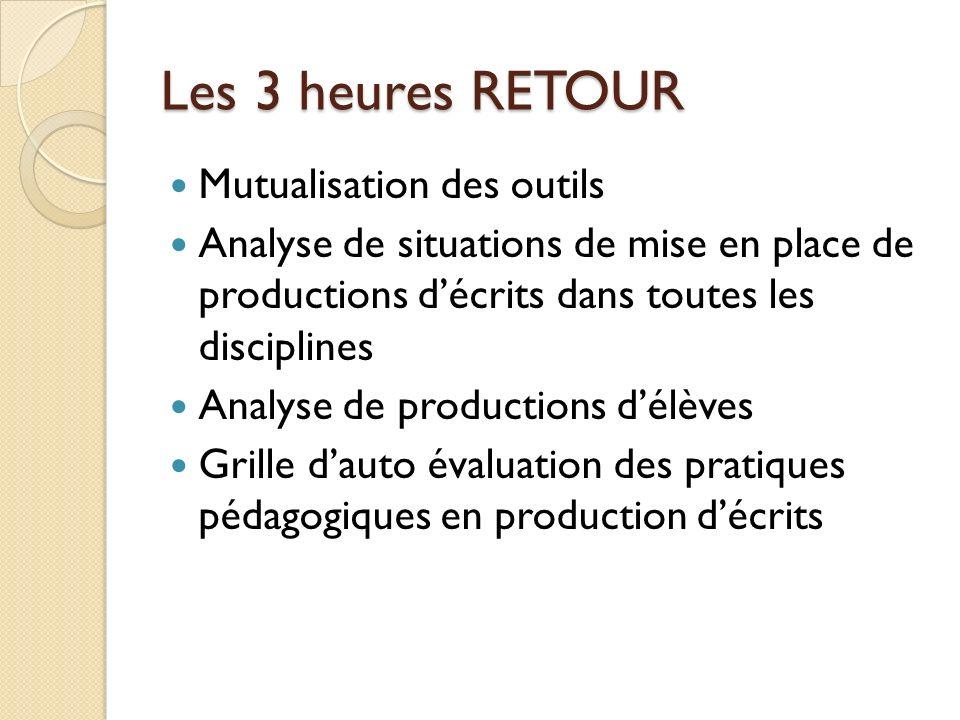 Les 3 heures RETOUR Mutualisation des outils Analyse de situations de mise en place de productions décrits dans toutes les disciplines Analyse de prod