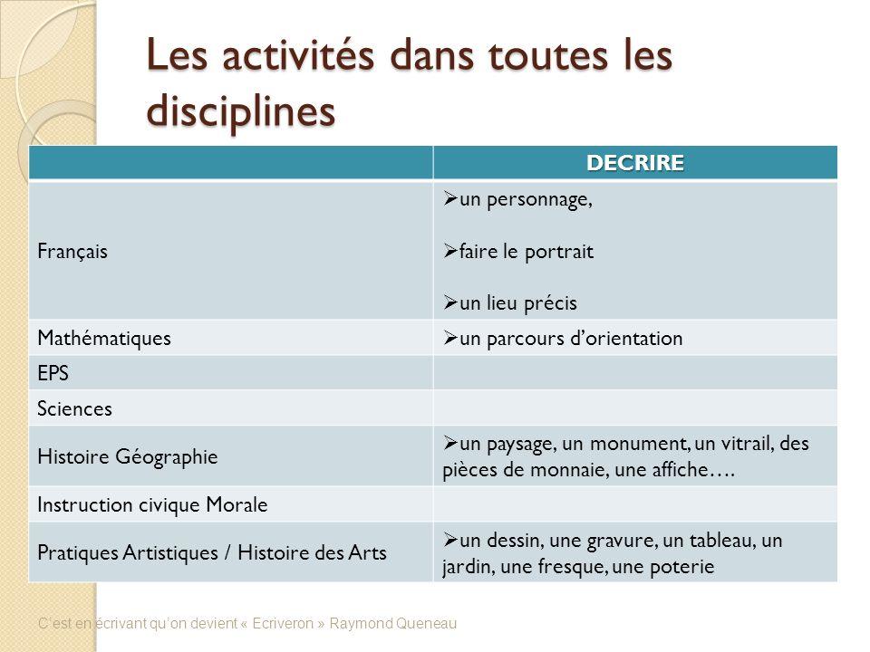 Les activités dans toutes les disciplines DECRIRE Français un personnage, faire le portrait un lieu précis Mathématiques un parcours dorientation EPS