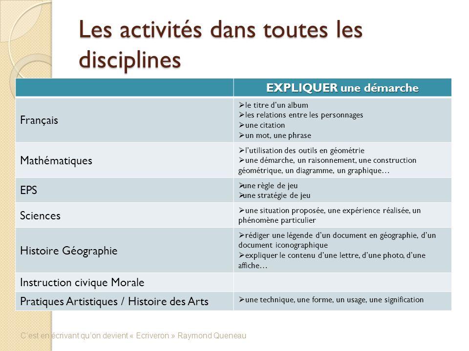 Les activités dans toutes les disciplines EXPLIQUER une démarche Français le titre dun album les relations entre les personnages une citation un mot,