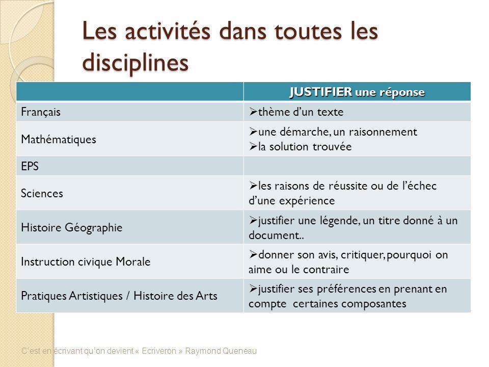 Les activités dans toutes les disciplines JUSTIFIER une réponse Français thème dun texte Mathématiques une démarche, un raisonnement la solution trouv