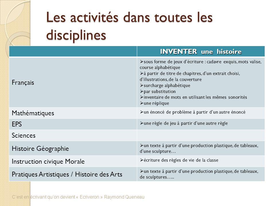 Les activités dans toutes les disciplines INVENTER une histoire Français sous forme de jeux décriture : cadavre exquis, mots valise, course alphabétiq