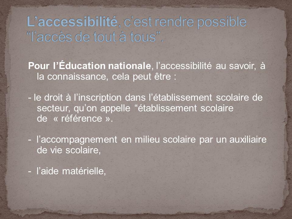 Pour lÉducation nationale, laccessibilité au savoir, à la connaissance, cela peut être : - le droit à linscription dans létablissement scolaire de secteur, quon appelle établissement scolaire de « référence ».
