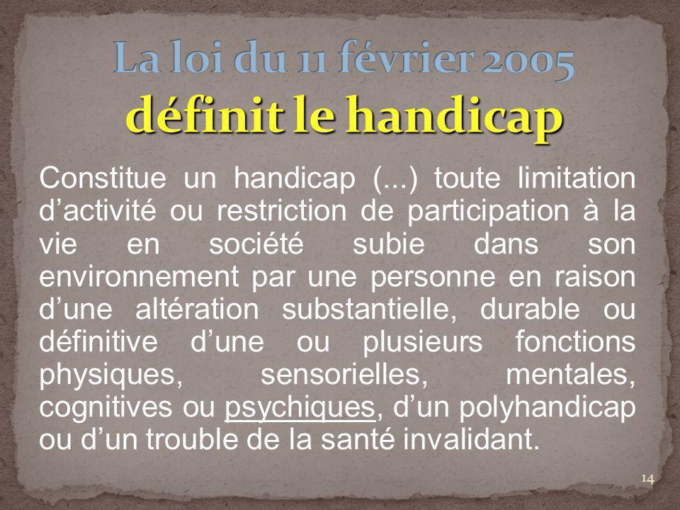 14 Constitue un handicap (...) toute limitation dactivité ou restriction de participation à la vie en société subie dans son environnement par une per