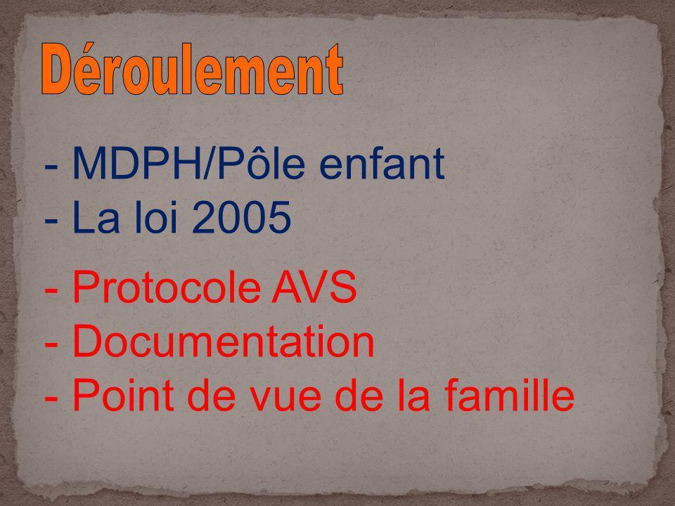 - MDPH/Pôle enfant - La loi 2005 - Protocole AVS - Documentation - Point de vue de la famille