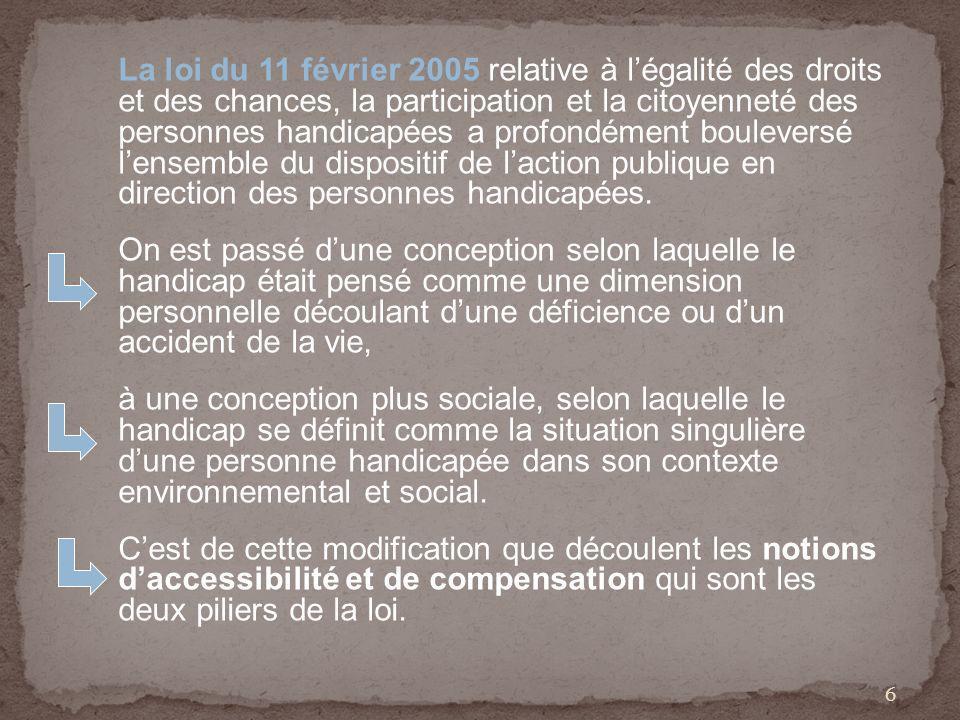 La loi du 11 février 2005 relative à légalité des droits et des chances, la participation et la citoyenneté des personnes handicapées a profondément bouleversé lensemble du dispositif de laction publique en direction des personnes handicapées.