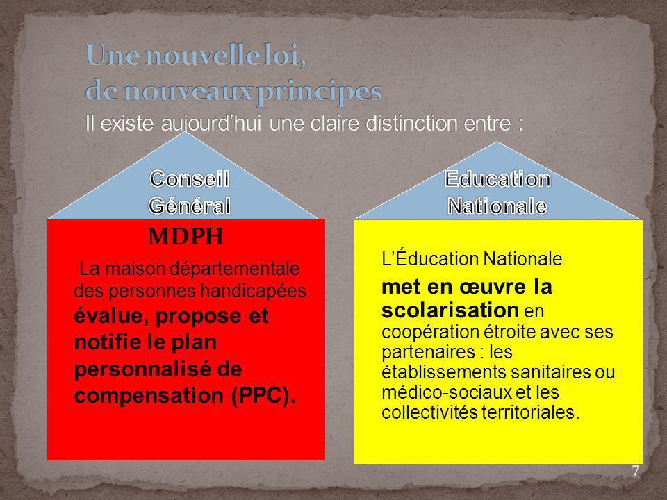 7 MDPH La maison départementale des personnes handicapées évalue, propose et notifie le plan personnalisé de compensation (PPC). LÉducation Nationale