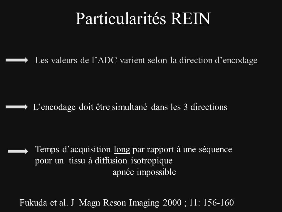 Particularités REIN Les valeurs de lADC varient selon la direction dencodage Fukuda et al. J Magn Reson Imaging 2000 ; 11: 156-160 Temps dacquisition