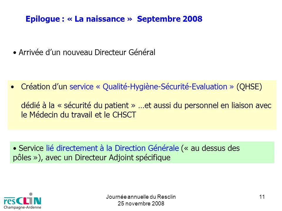 Journée annuelle du Resclin 25 novembre 2008 11 Epilogue : « La naissance » Septembre 2008 Arrivée dun nouveau Directeur Général Création dun service