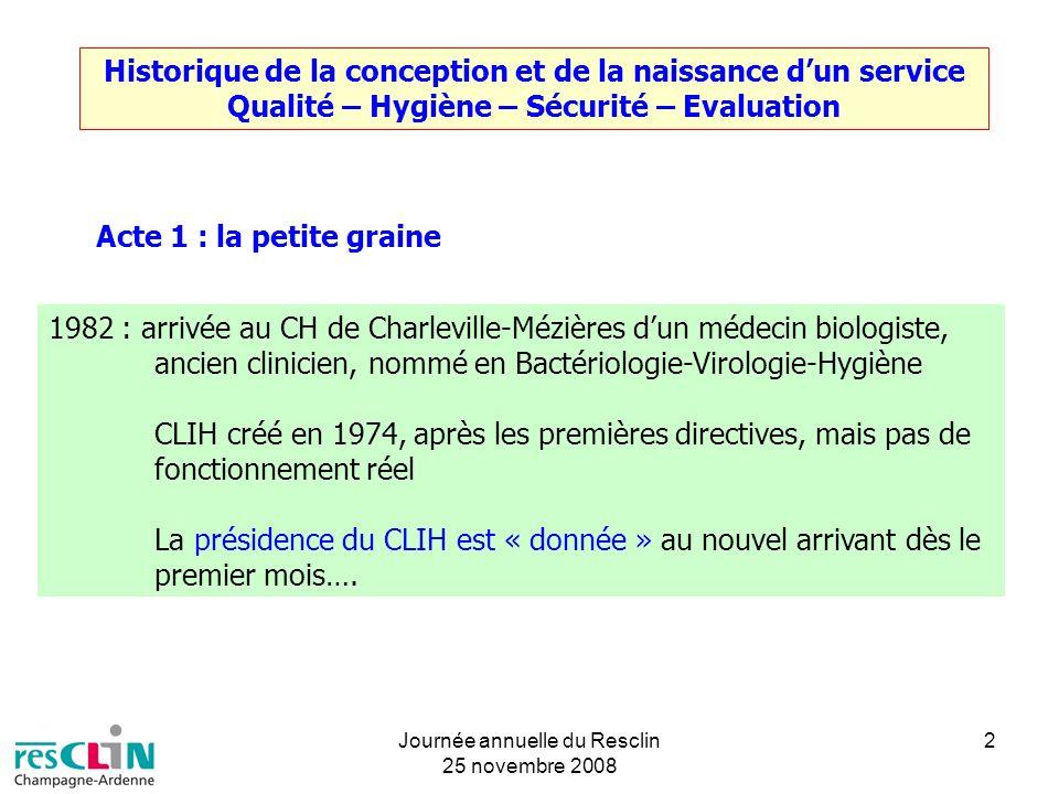 Journée annuelle du Resclin 25 novembre 2008 2 Historique de la conception et de la naissance dun service Qualité – Hygiène – Sécurité – Evaluation Ac