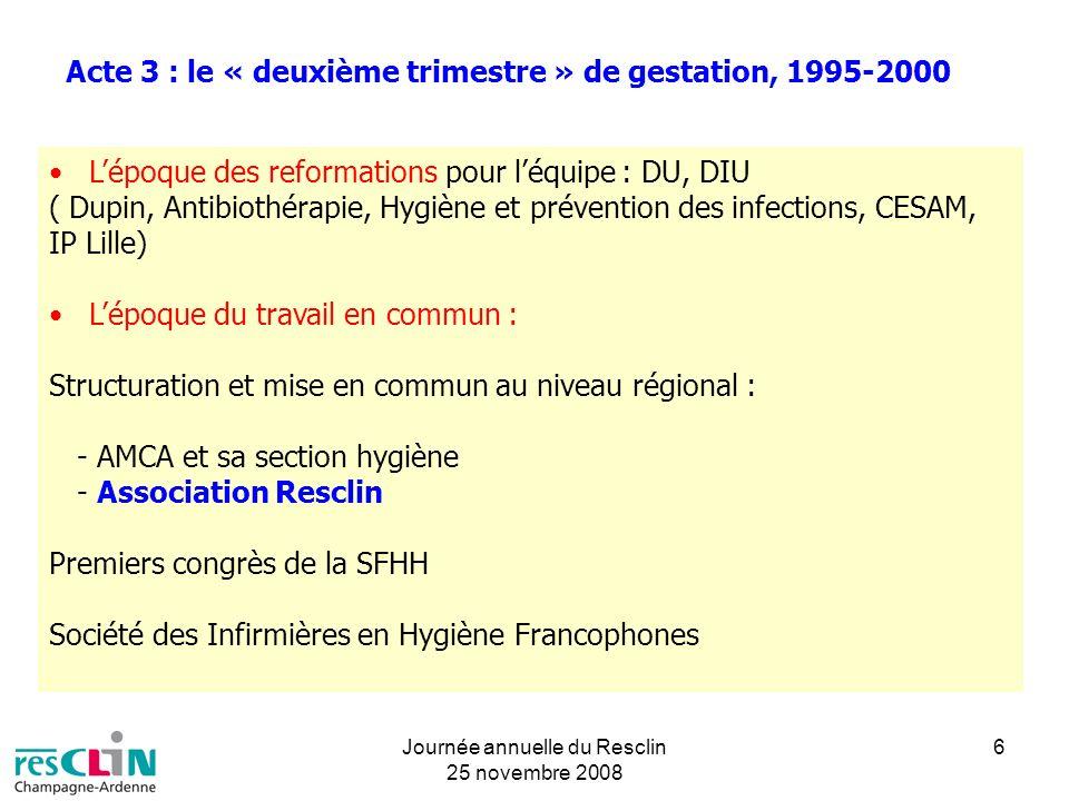 Journée annuelle du Resclin 25 novembre 2008 6 Acte 3 : le « deuxième trimestre » de gestation, 1995-2000 Lépoque des reformations pour léquipe : DU,