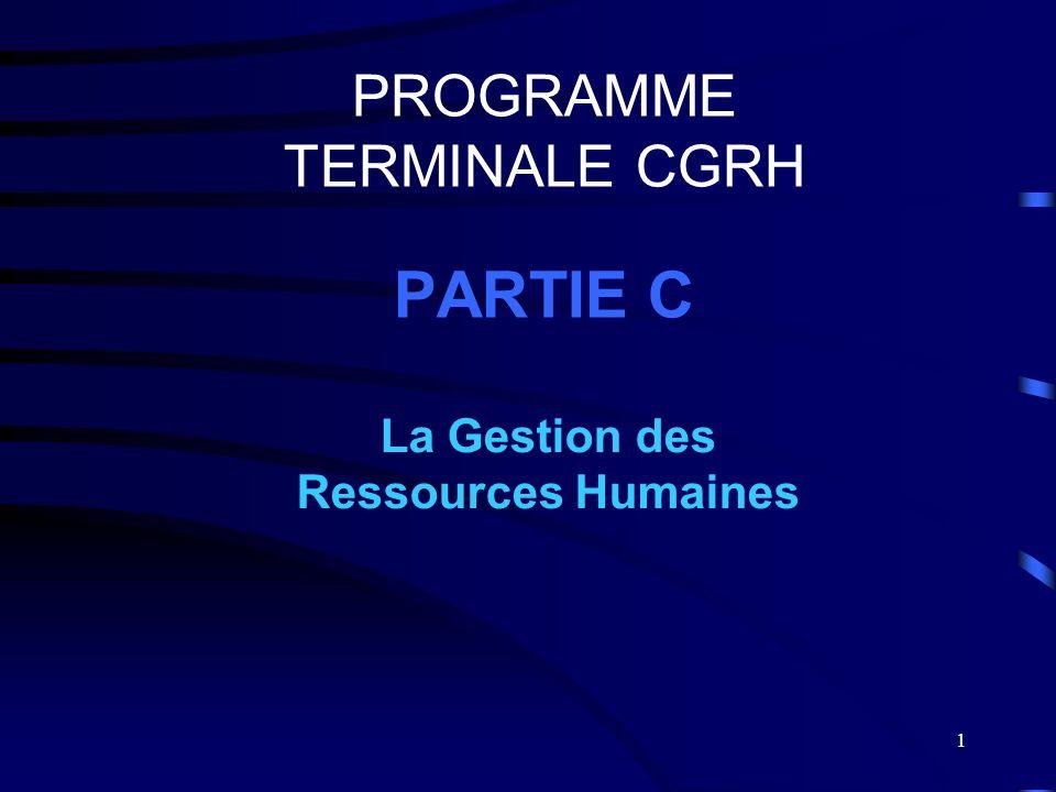 1 PROGRAMME TERMINALE CGRH PARTIE C La Gestion des Ressources Humaines