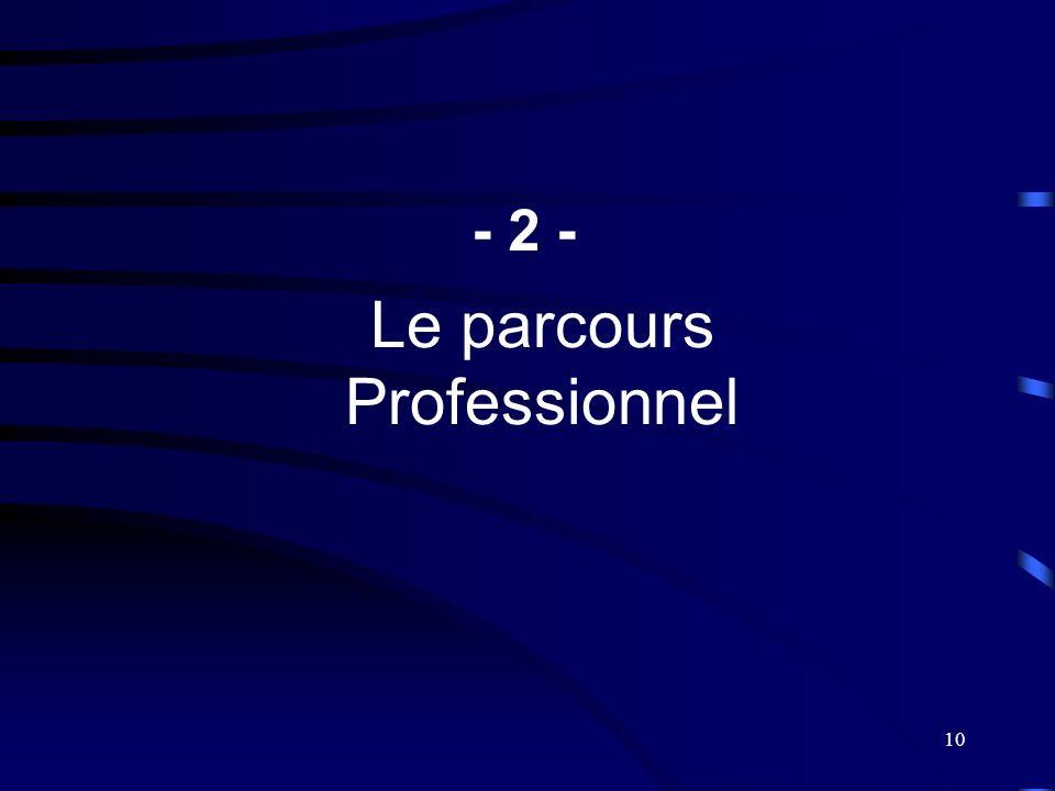 10 Le parcours Professionnel - 2 -