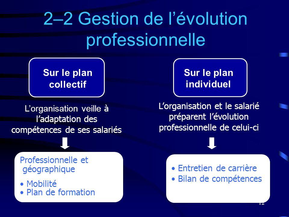 12 Professionnelle et géographique Mobilité Plan de formation 2–2 Gestion de lévolution professionnelle Sur le plan individuel Lorganisation veille à