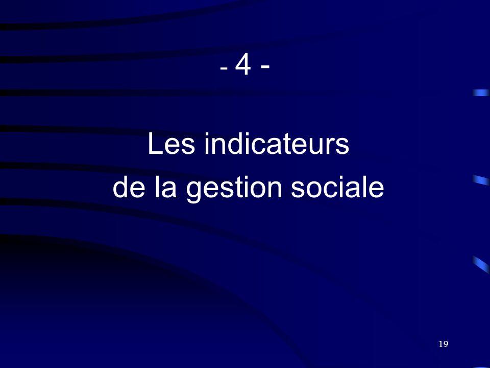 19 - 4 - Les indicateurs de la gestion sociale