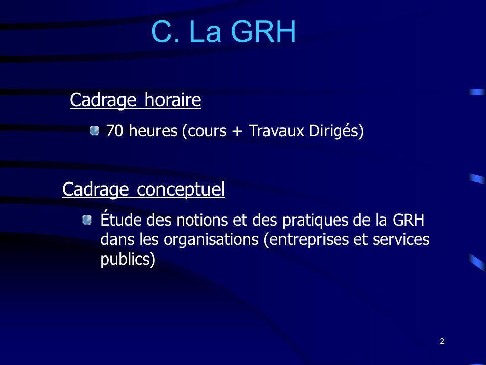 2 C. La GRH Cadrage conceptuel Étude des notions et des pratiques de la GRH dans les organisations (entreprises et services publics) Cadrage horaire 7