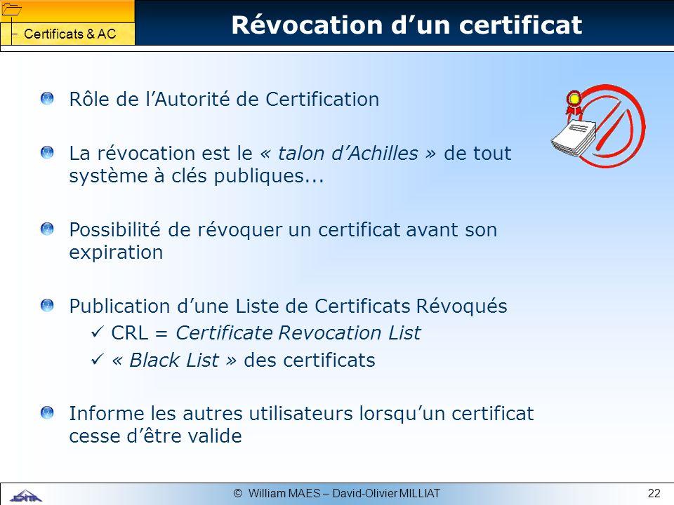 22© William MAES – David-Olivier MILLIAT Révocation dun certificat Rôle de lAutorité de Certification La révocation est le « talon dAchilles » de tout