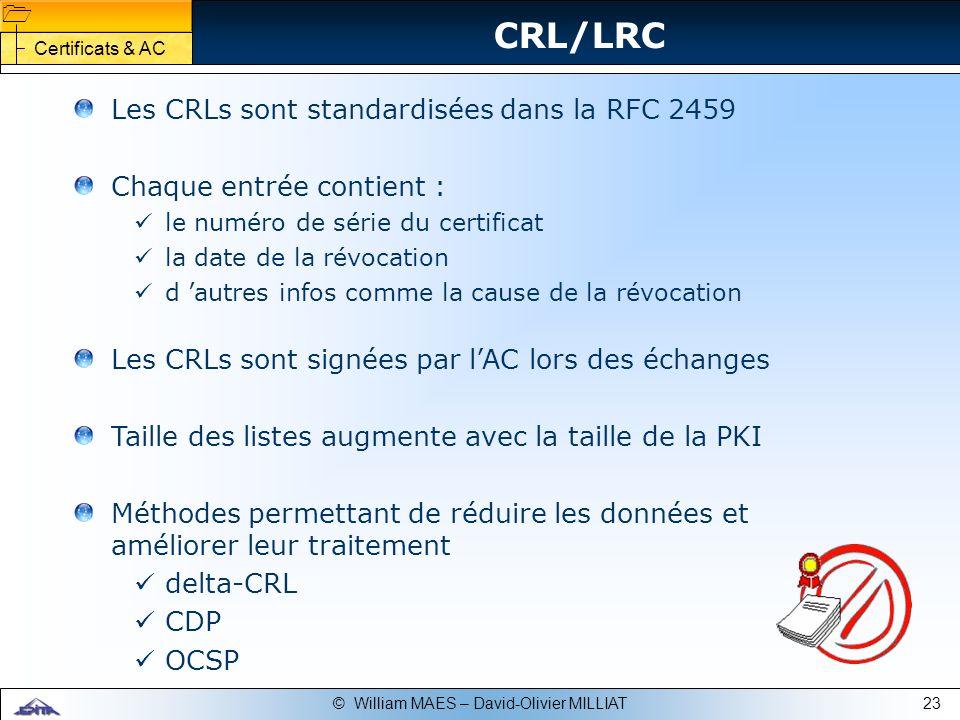 23© William MAES – David-Olivier MILLIAT CRL/LRC Les CRLs sont standardisées dans la RFC 2459 Chaque entrée contient : le numéro de série du certifica