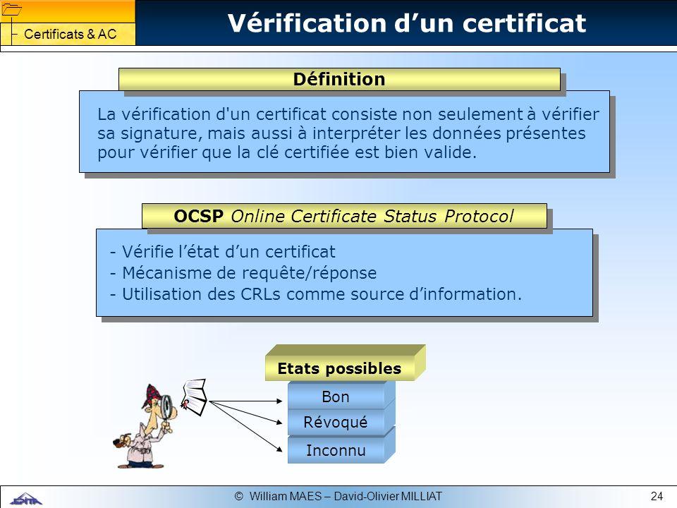 24© William MAES – David-Olivier MILLIAT Vérification dun certificat - Vérifie létat dun certificat - Mécanisme de requête/réponse - Utilisation des C