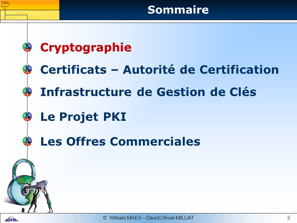 3© William MAES – David-Olivier MILLIAT Certificats – Autorité de Certification Infrastructure de Gestion de Clés Le Projet PKI Cryptographie Les Offr