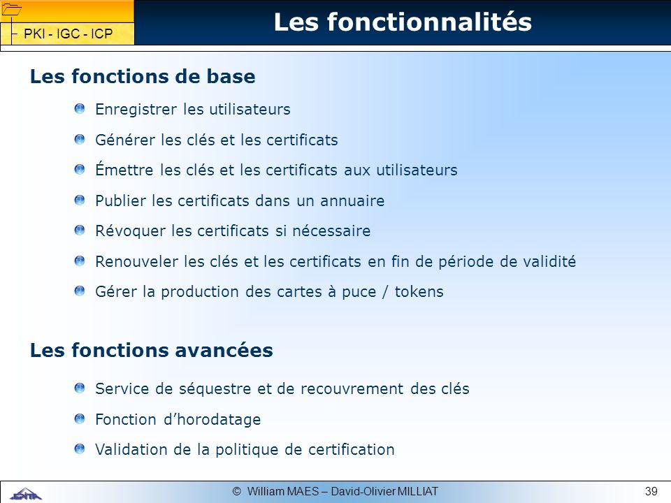 39© William MAES – David-Olivier MILLIAT Enregistrer les utilisateurs Générer les clés et les certificats Émettre les clés et les certificats aux util