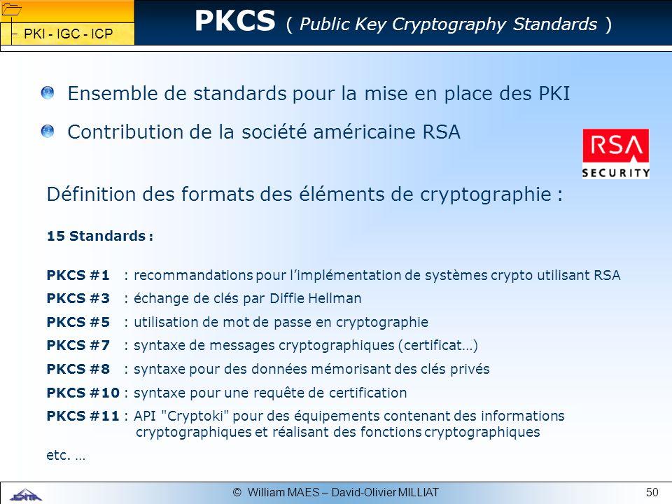 50© William MAES – David-Olivier MILLIAT Définition des formats des éléments de cryptographie : 15 Standards : PKCS #1 : recommandations pour limpléme