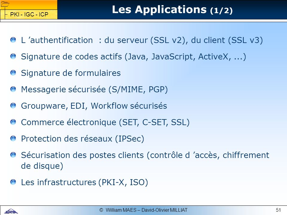51© William MAES – David-Olivier MILLIAT L authentification : du serveur (SSL v2), du client (SSL v3) Signature de codes actifs (Java, JavaScript, Act