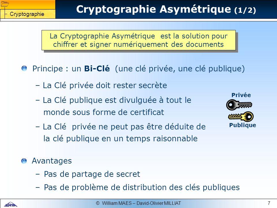7© William MAES – David-Olivier MILLIAT Publique Privée Avantages –Pas de partage de secret –Pas de problème de distribution des clés publiques Crypto
