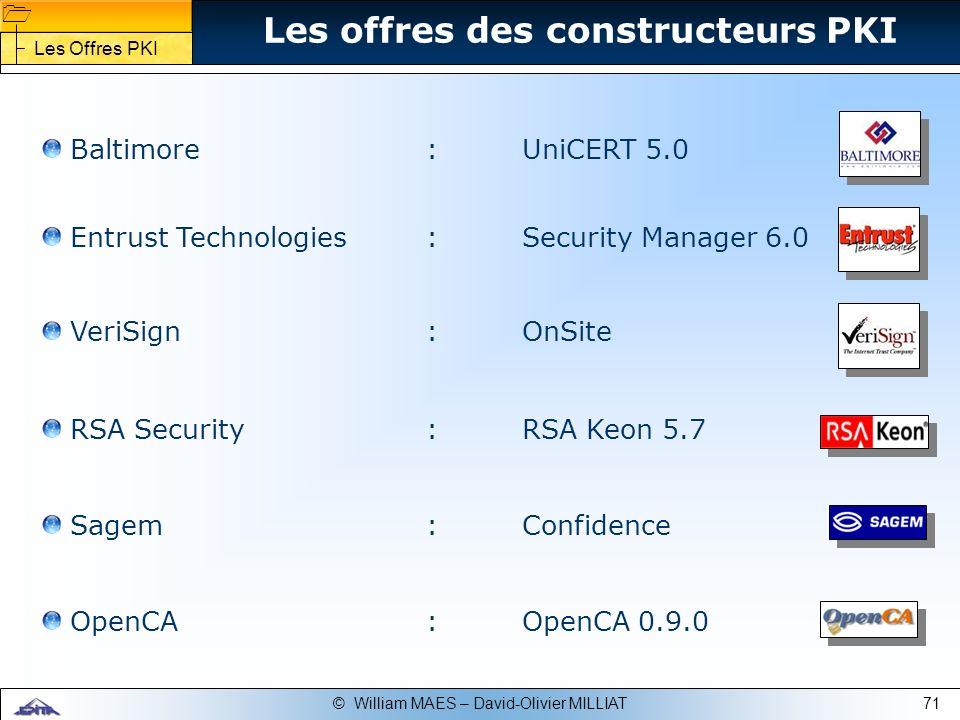 71© William MAES – David-Olivier MILLIAT Baltimore :UniCERT 5.0 Entrust Technologies:Security Manager 6.0 Les offres des constructeurs PKI OpenCA:Open