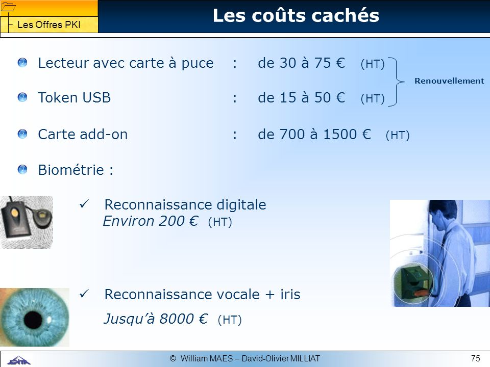 75© William MAES – David-Olivier MILLIAT Les coûts cachés Lecteur avec carte à puce:de 30 à 75 (HT) Token USB:de 15 à 50 (HT) Carte add-on:de 700 à 15