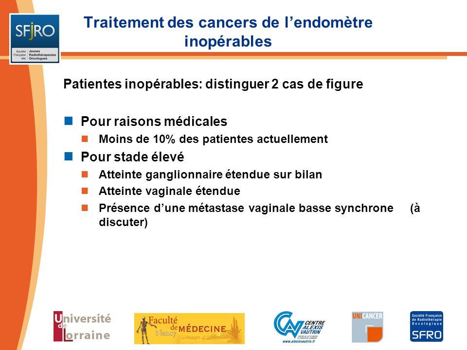 Traitement des cancers de lendomètre inopérables Patientes inopérables: distinguer 2 cas de figure Pour raisons médicales Moins de 10% des patientes a