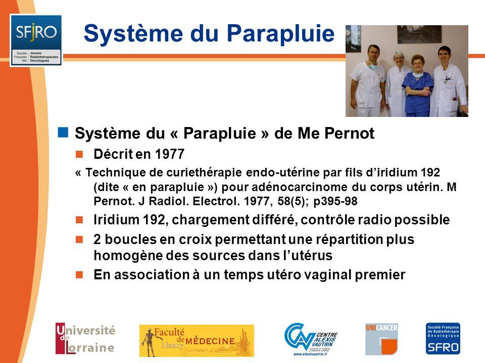 Système du Parapluie Système du « Parapluie » de Me Pernot Décrit en 1977 « Technique de curiethérapie endo-utérine par fils diridium 192 (dite « en p