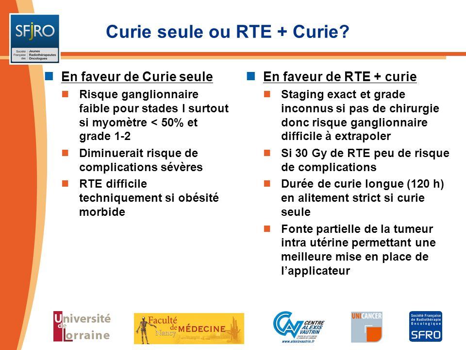 Curie seule ou RTE + Curie? En faveur de Curie seule Risque ganglionnaire faible pour stades I surtout si myomètre < 50% et grade 1-2 Diminuerait risq