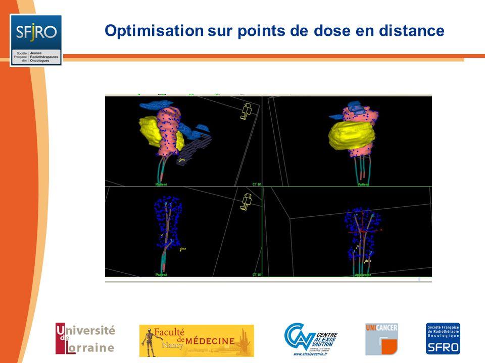 Optimisation sur points de dose en distance