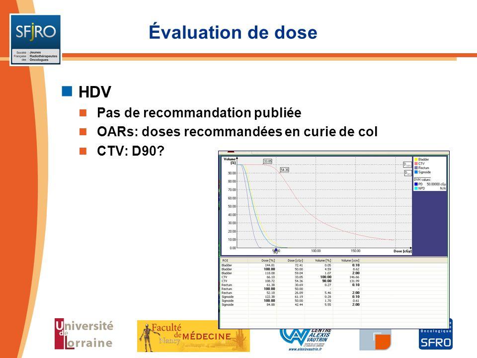 Évaluation de dose HDV Pas de recommandation publiée OARs: doses recommandées en curie de col CTV: D90?