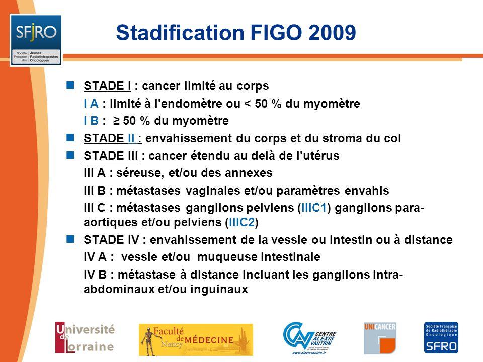 Stadification FIGO 2009 STADE I : cancer limité au corps I A : limité à l'endomètre ou < 50 % du myomètre I B : 50 % du myomètre STADE II : envahissem