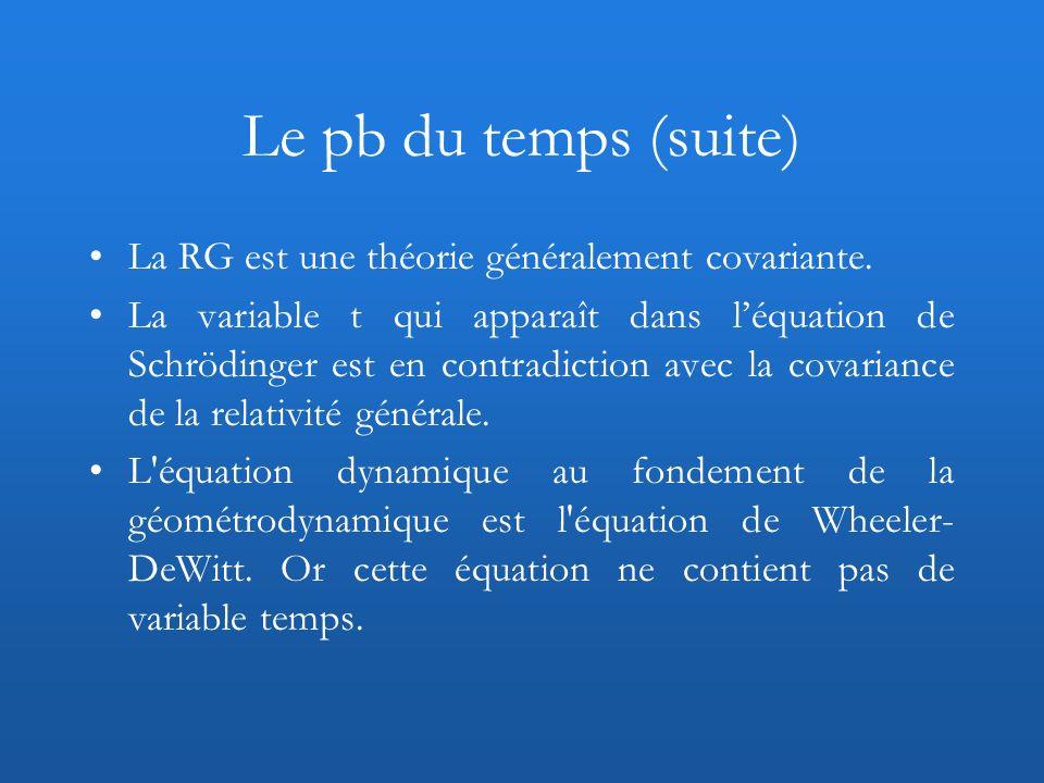 Le pb du temps (suite) La RG est une théorie généralement covariante. La variable t qui apparaît dans léquation de Schrödinger est en contradiction av