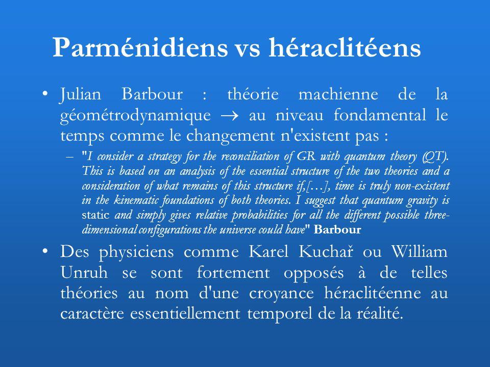 Parménidiens vs héraclitéens Julian Barbour : théorie machienne de la géométrodynamique au niveau fondamental le temps comme le changement n'existent