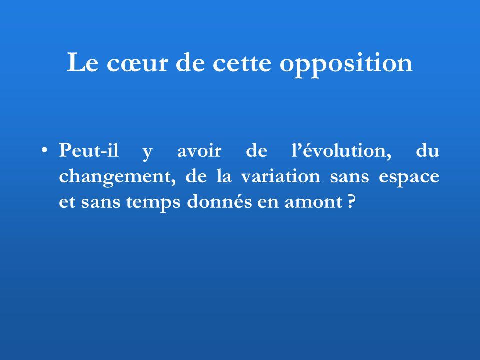 Le cœur de cette opposition Peut-il y avoir de lévolution, du changement, de la variation sans espace et sans temps donnés en amont ?