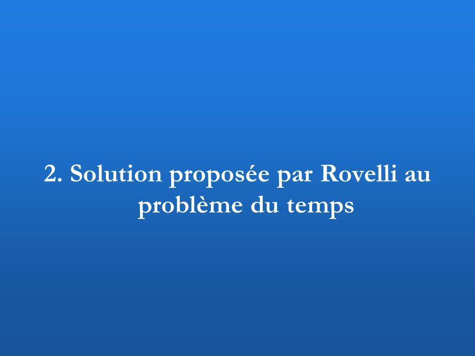 2. Solution proposée par Rovelli au problème du temps