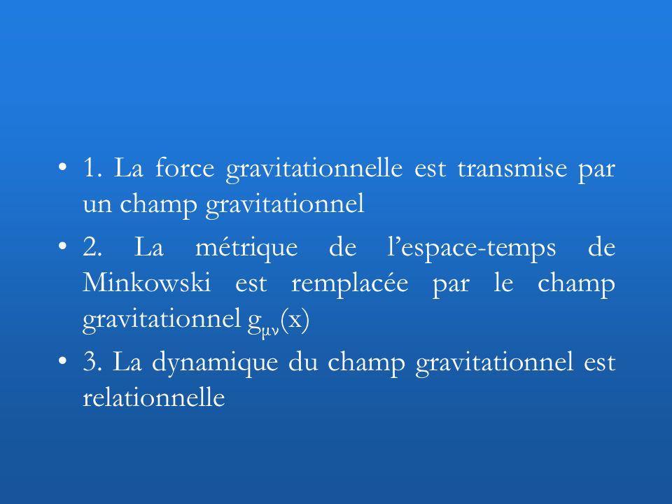 1. La force gravitationnelle est transmise par un champ gravitationnel 2. La métrique de lespace-temps de Minkowski est remplacée par le champ gravita